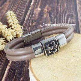 Bracelet cuir italien taupe couture avec passants et fermoir acier inoxydable top tendance