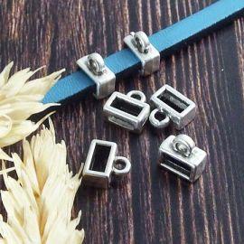 4 passants rectangle avec anneau accrochage argent pour cuir 5mm