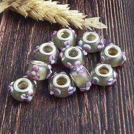 10 perles europeennes Lampwork mauve et fume