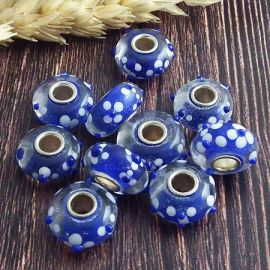 10 perles europeennes Lampwork bleu fleurs