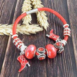 Bracelet cuir rouge avec perles strass, argent et céramique