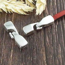Fermoir crochet design plaque argent pour cuir plat 5 mm