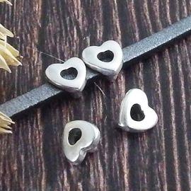 2 passants coeur argent pour cuir 3mm