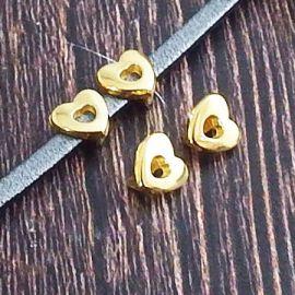 2 passants coeur or pour cuir 3mm