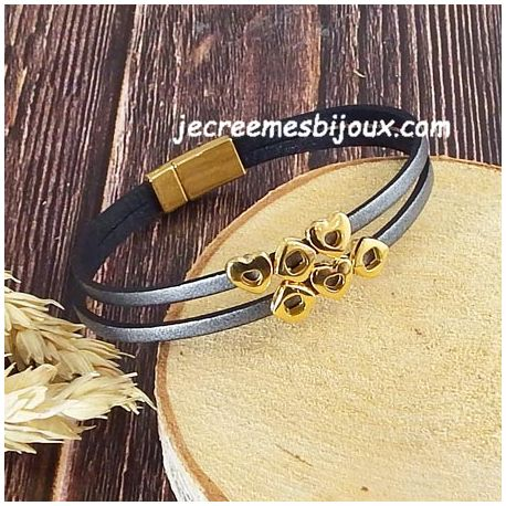 Kit bracelet cuir argent vieilli et or saint Valentin