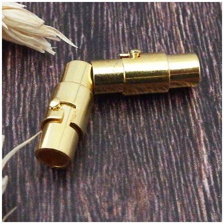 Fermoir metal dore magnetique pour cuir 4mm