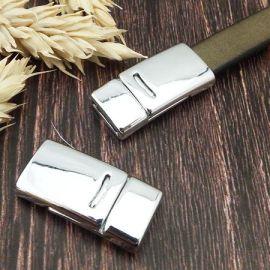 Fermoir plat eco argente securise cuir plat 10mm