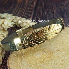 Kit bracelet cuir kaki plume et fermoir or avec enroulage kaki