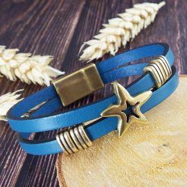 Kit bracelet cuir turquoise et bronze plage