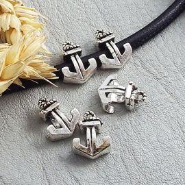 5 perles ancre marine argentee interieur cuir 4.5mm