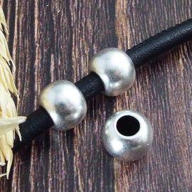2 perles rondes plaque argent pour cuir 4mm