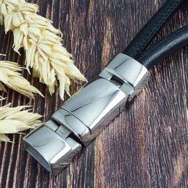Fermoir magnetique articule acier inoxydable pour 2 cuirs 5mm