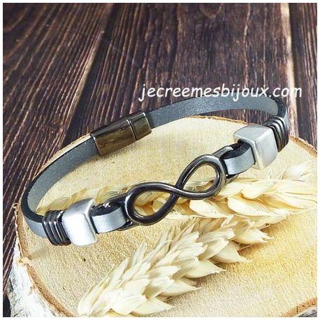 Kit bracelet cuir argent et infini gun metal