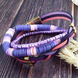 Ensemble de 3 bracelets mauve rose violet