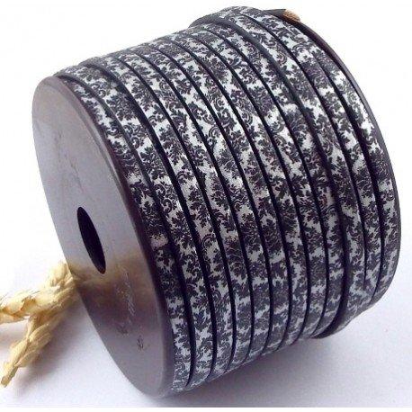 Cuir plat 5mm imprimé dentelle gris et blanc