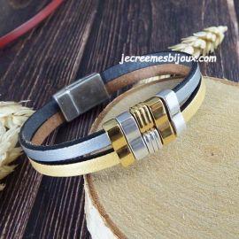 Bracelet cuir argent et or geometrique