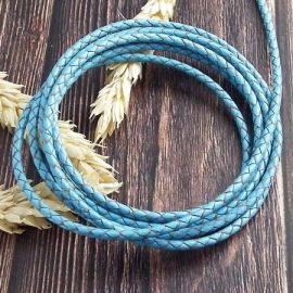 Cordon cuir rond tresse bleu ciel 3MM par 20cm
