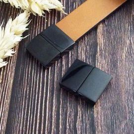 Fermoir magnetique acier inoxydabl couleur noire pour cuir plat 15mm