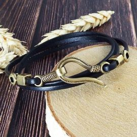 Bracelet en cuir fin noir 3 tours fermoir bronze antique crochet
