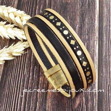 Kit Bracelet manchette cuir noir et or géométrique avec tutoriel