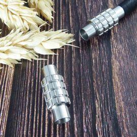 Fermoir magnetique acier inoxydable 4 LIGNES pour cuir rond 5mm