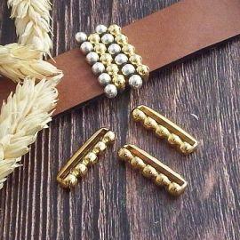 2 passants 5 graines or pour cuir 20mm