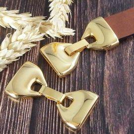 Fermoir clip or pour cuir plat 20mm