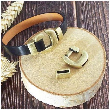 Set Fermoir crochet BRONZE pour cuir plat 10mm