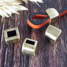 2 embouts bloquants plaque bronze pour cuir plat 5mm