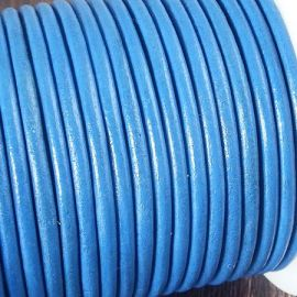 Cordon cuir rond 3mm couleur bleu ducados
