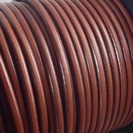 Cordon cuir rond marron moyen 4mm par 20cm