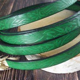 Cuir plat 10mm vert printemps grave jardin