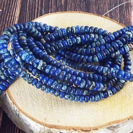 Fil de 80 perles en Jaspe imperial naturel 4mm bleu fonce