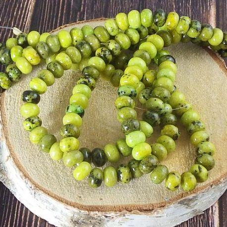 96 perles rondelles de turquoise synthetique vert anis 6x4mm