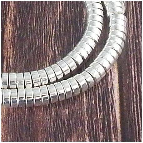 Fil de 175 perles rondelles Hématite Heishi synthetique 6X2mm