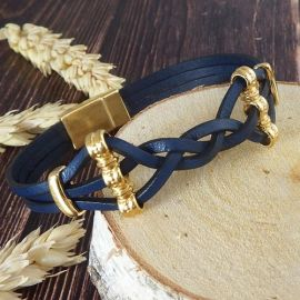 Kit tutoriel bracelet cuir tresse bleu et or