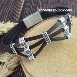 Kit tutoriel bracelet cuir marron bali argent