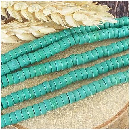 Fil de 145 perles rondelles Heishi turquoise synthetique vert jade 5x3mm