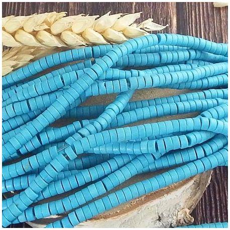 Fil de 170 perles rondelles Heishi turquoise synthetique turquoise 4x2mm