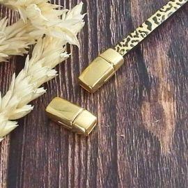Fermoir magnetique plat flashe or haute qualite pour cuir 5mm