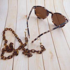 Chaine de lunettes maillons acrylique ecaille acier inoxydable dore 70cm