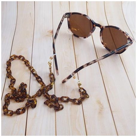 Chaine de lunettes maillons fins acier inoxydable dore 70cm