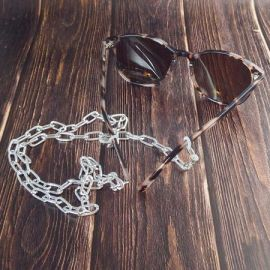 Chaine de lunettes maillons trombone aluminium et acier inoxydable dore 70cm