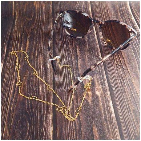 Chaine de lunettes etoiles et lune en laiton dore 70cm