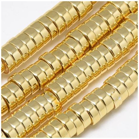 Fil de 175 perles rondelles Hématite doree Heishi synthetique 6X2mm