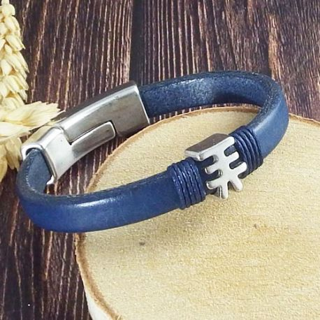 Kit bracelet cuir mini regaliz bleu avec lettre japonaise et fermoir argent et argent