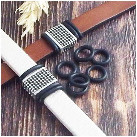 6 rondelles stoppeur en PVC noir pour cuir regaliz