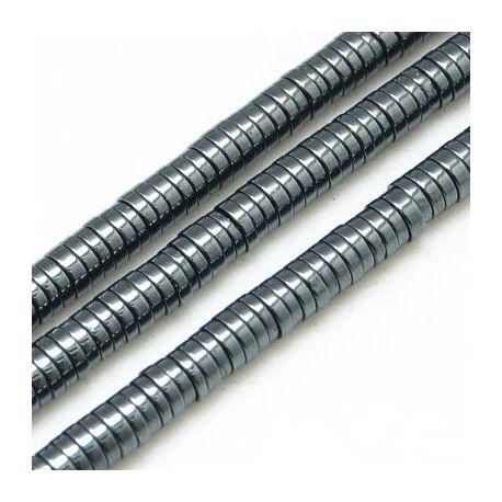 Fil de 180 perles rondelles Hématite synthetique noire 4X1mm