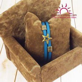 Bracelet cuir turquoise et bronze Copa Cabana
