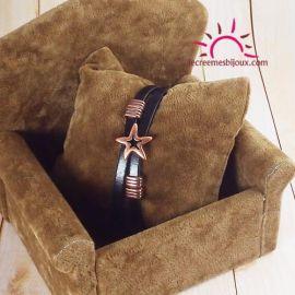 Bracelet cuir noir et cuivre Copa Cabana